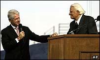 Bill Clinton and Billy Graham at Saturday's rally