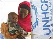 A Sudanese mother holds her child  in the Koumouangou refugee camp in Chad