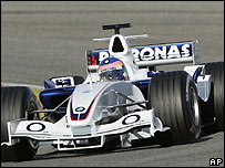 Jacques Villeneuve in the new BMW Sauber F1 car
