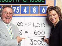 Richard Whiteley with co-presenter Carol Vorderman