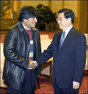 Evo Morales Sweater Evo Morales with Chinese