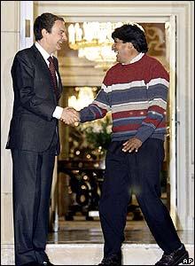 Jose Luis Zapatero con Evo Morales