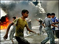 Scene of a suicide bomb attack in Baghdad