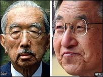 Wartime Emperor Hirohito (L) and his son Emperor Akihito