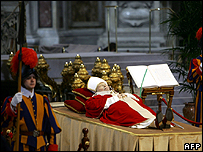 Swiss guards at Pope John Paul II's funeral