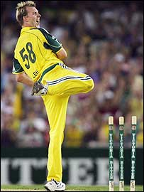 Brett Lee celebrates Andrew Hall's wicket