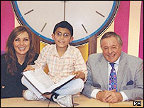 Carol Vorderman, Countdown contestant Tanmay Dixit and Richard Whiteley
