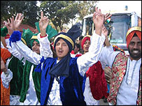 Celebrations in Amritsra after the arrival of the bus