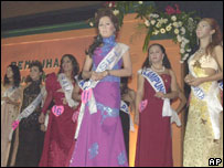 Some of the contestants at Miss Transvestite in Jakarta, Indonesia, June 26, 2005