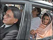 Mukhtar Mai (R) leaves the Supreme Court in Islamabad