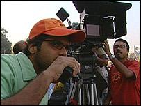 A camera crew in India