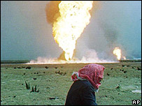 Burning oil field in Kuwait in 1991
