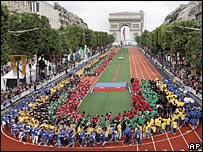 Paris recently transformed the Champs Elysees into a giant running track to promote its bid