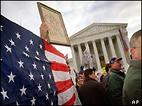 Protests outside US Supreme Court, December 2000