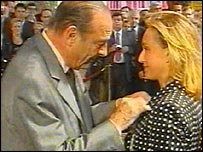 Jacques Chirac presents Kristin Scott Thomas with the Legion of Honour