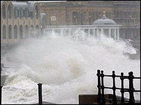 High tides pound the Spa Theatre, Scarborough in July 2004