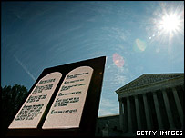 Copy of the Ten Commandments displayed outside the US Supreme Court