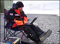 David Shukman on his computer (BBC)