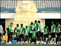 The Ivory Coast national team trains in Cairo, Egypt