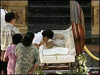 Cardinal Sin's coffin