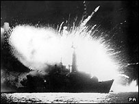 HMS Antelope exploding after Argentine air attack