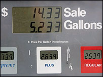 Petrol pump showing prices