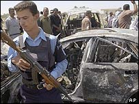 Dhari al-Fayadh's bombed car Tuesday 28 June 2005