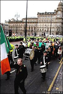 Republican parade going through George Square