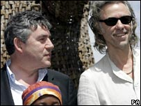 Bob Geldof (r) and Gordon Brown