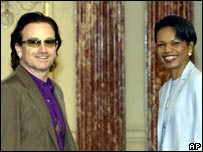 Bono meeting US secretary of state Condoleezza Rice