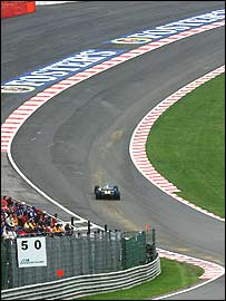 Fernando Alonso's Renault at Eau Rouge during last year's Belgian Grand Prix
