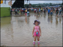Young festival-goer at Glastonbury