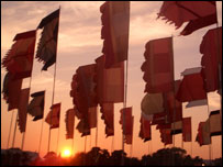 Flags at Glastonbury