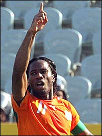 Didier Drogba celebrates scoring the only goal for Ivory Coast in their African Cup of Nations game against Morocco