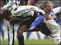 Newcastle Solano and Blackburn's Tugay