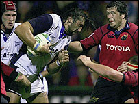 Sale's Sebastien Chabal on the charge against Munster