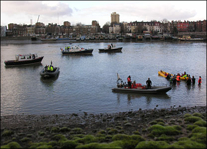 Wideangle view of whale rescue from embankment