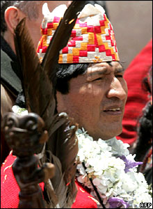 Evo Morales in ceremonial tunic and four-cornered cap