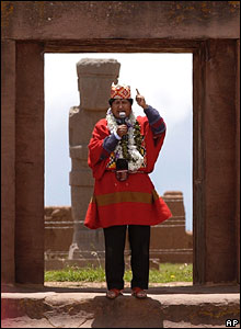 Evo Morales makes a speech from the ruins of a temple