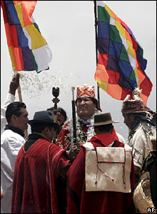 Evo Morales takes part in an indigenous ritual