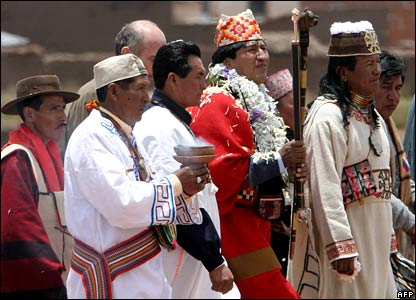 Evo Morales (centre) arrives for the ceremonies