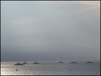 A photo of some of the fleet anchored off in St Helen's Roads off the Isle of Wight sent by Rob Webb, Seaview