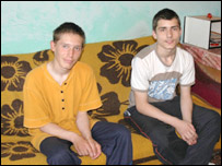 Vadim (l) and Lucian (r) at home