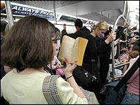 Commuters on the New York subway