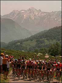 The Tour de France climbs the Cole de Marie-Blanque