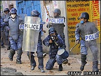 Nepalese police act against protesters in Kathmandu