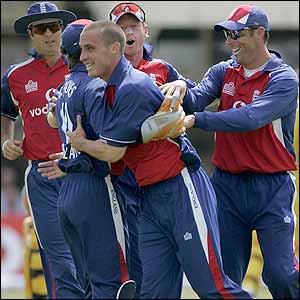 England celebrate removing Adam Gilchrist