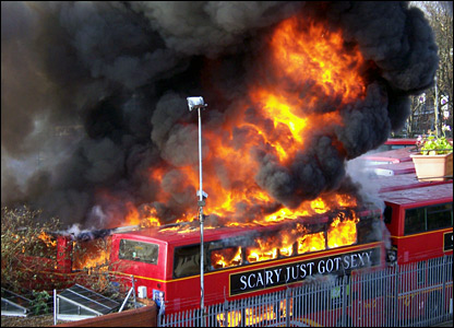 Bus on fire in the garage