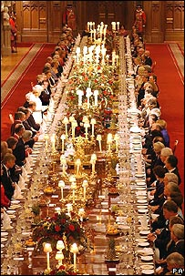 The Queen and guests at a banquet at Windsor Castle