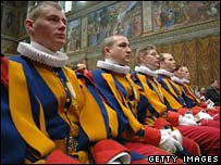 Swiss guards celebrate mass in the Sistine Chapel